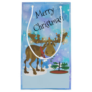 Christmas Moose ~ Small Gift Bag