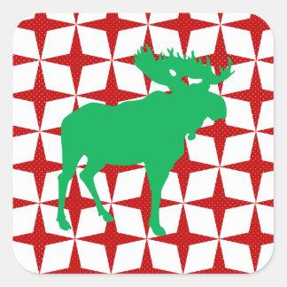 Christmas Moose Square Sticker