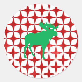 Christmas Moose Round Sticker