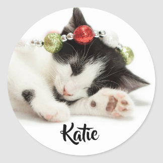 Christmas Morning Kitten customize gift label