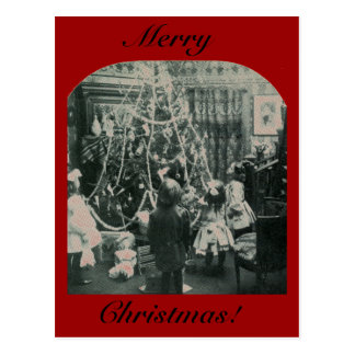 Christmas Morning - Vintage Stereoview Postcard