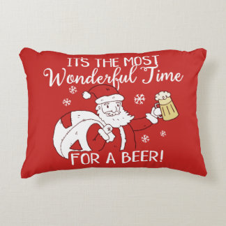 Christmas Most Wonderful Time for a Beer Santa Accent Pillow