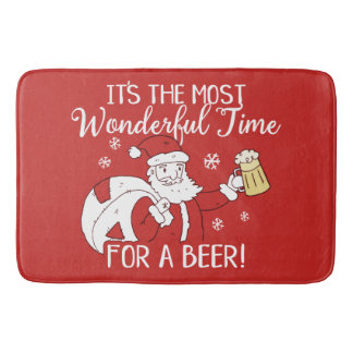 Christmas Most Wonderful Time for a Beer Santa Bath Mat