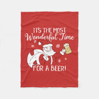 Christmas Most Wonderful Time for a Beer Santa Fleece Blanket
