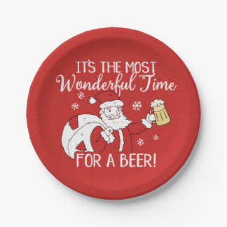 Christmas Most Wonderful Time for a Beer Santa Paper Plate