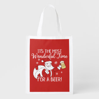 Christmas Most Wonderful Time for a Beer Santa Reusable Grocery Bag