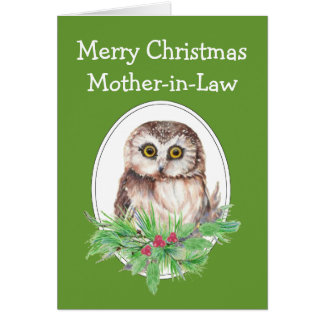 Christmas Mother-in-Law Cute Owl Bird Holly PIne Card