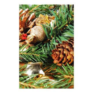 Christmas motive of branches of fir and decoration custom stationery