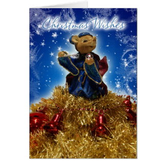 Christmas Mouse On Tinsel, Bells And Baubles Greeting Cards