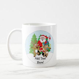 Christmas Mug 11 oz. Santa Reindeer Personalize