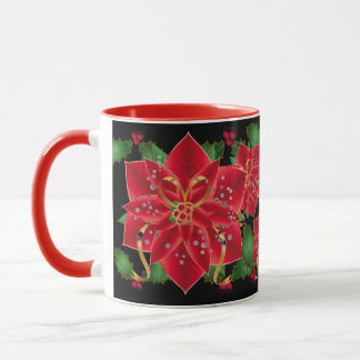 Christmas Mug-Red Poinsettias & Holly Mug