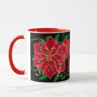 Christmas Mug-Red Poinsettias Mug