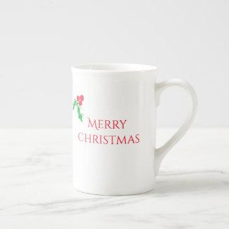 Christmas mug with holly berries