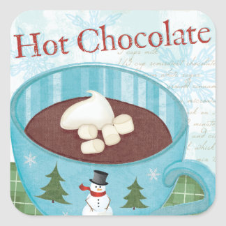 Christmas Mug with Hot Chocolate Square Sticker