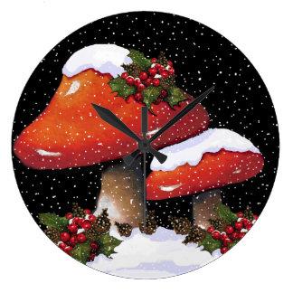Christmas Mushrooms with Holly, Snow: Artwork Large Clock