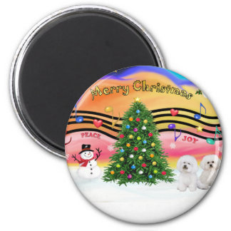 Christmas Music 2 - Bichon Frise (two) 2 Inch Round Magnet