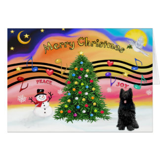 Christmas Music 2 - Briard (black) Card