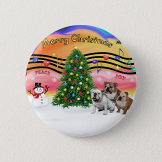 Christmas Music 2 - English Bulldogs (three) 2 Inch Round Button