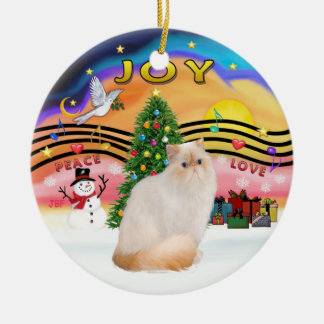 Christmas Music #2 - Himalayan Flame Point Cat Ceramic Ornament