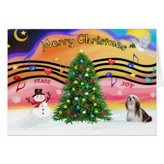 Christmas Music 2 - Lhasa Apso (Brown-white) Card