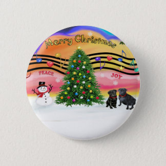 Christmas Music 2 - Pugs ( ) 2 Inch Round Button