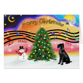 Christmas Music 2 - Schnauzer (Giant black) Greeting Card