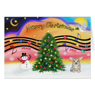 Christmas Music 2 - Welsh Corgi Puppy Card