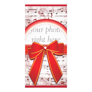 Christmas music note with red ribbon photo card