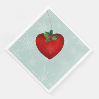 Christmas napkins with heart shape and snowflake paper napkins
