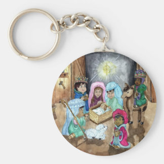Christmas Nativity Basic Round Button Keychain