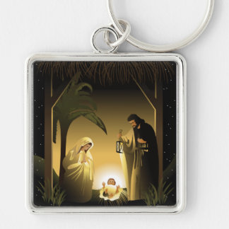 Christmas Nativity Mary, Joseph and Baby Jesus Silver-Colored Square Keychain