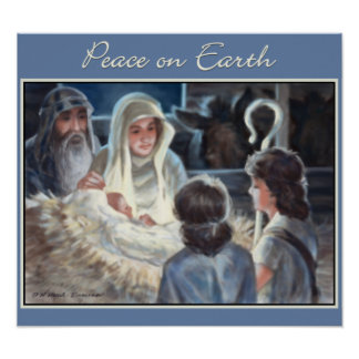 Christmas Nativity Scene Painting Print