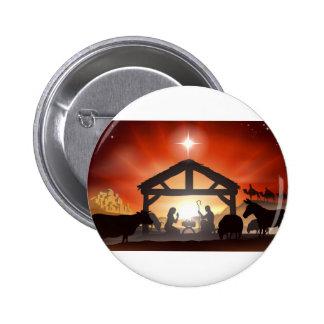 Christmas Nativity Scene Pinback Buttons
