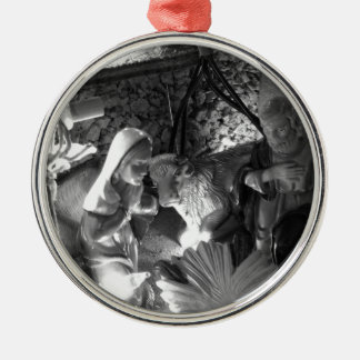Christmas nativity scene with figurines Silver-Colored round ornament
