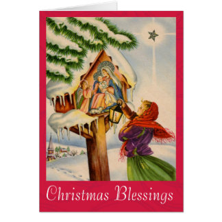 Christmas Nativity Shrine Greeting Card