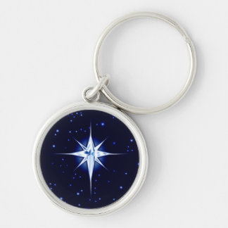 Christmas Nativity Star Silver-Colored Round Keychain
