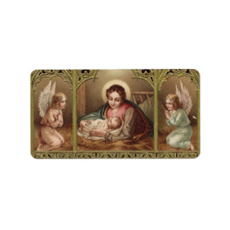 Christmas Nativity Virgin Mary Jesus Manger Label