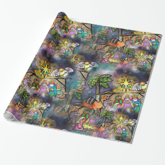 Christmas Nativity Watercolor Wrapping Paper