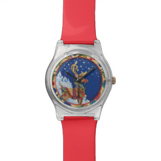 Christmas Needlepoint Frame Santa's Reindeer Watch