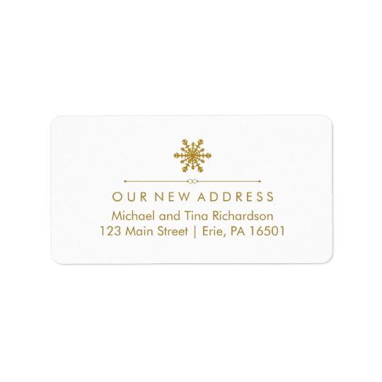 Christmas New Address Glam Gold Snowflake