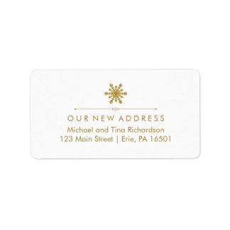 Christmas New Address Glam Gold Snowflake Label