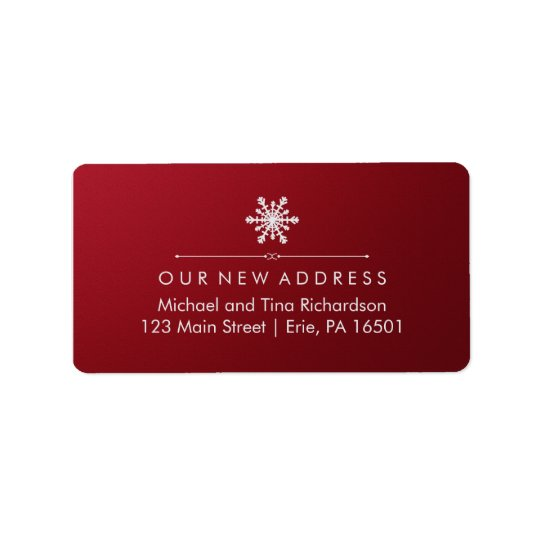 Christmas New Address on Elegant Red and Snowflake Label