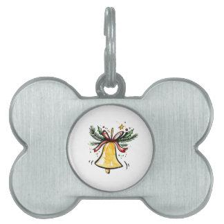 Christmas New Year Gift Yellow Jingle Bell Pet Tag