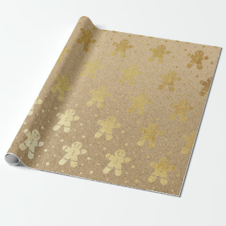 Christmas New Year Gold Gingerbread Man Kraft Wrapping Paper