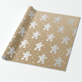 Christmas New Year Silver Gingerbread Man Kraft Wrapping Paper