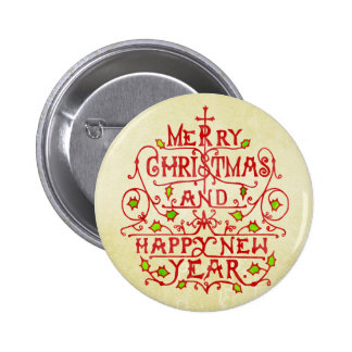 Christmas New Year Vintage Typography 2 Inch Round Button