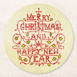 Christmas New Year Vintage Typography Round Paper Coaster