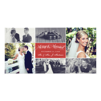 Christmas Newly Weds Merry & Married Photo Collage Picture Card
