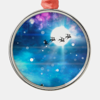 Christmas Night and Santa 2 Metal Ornament