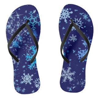 Christmas Night Snowfall Flip Flops
